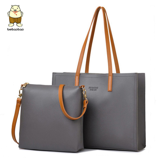 3b8f0920a19 US $18.4 34% OFF|Beibaobao women leather handbags big capacity tote bags  for female messenger bags solid shoulder bags 2 pcs women bags set a4414-in  ...