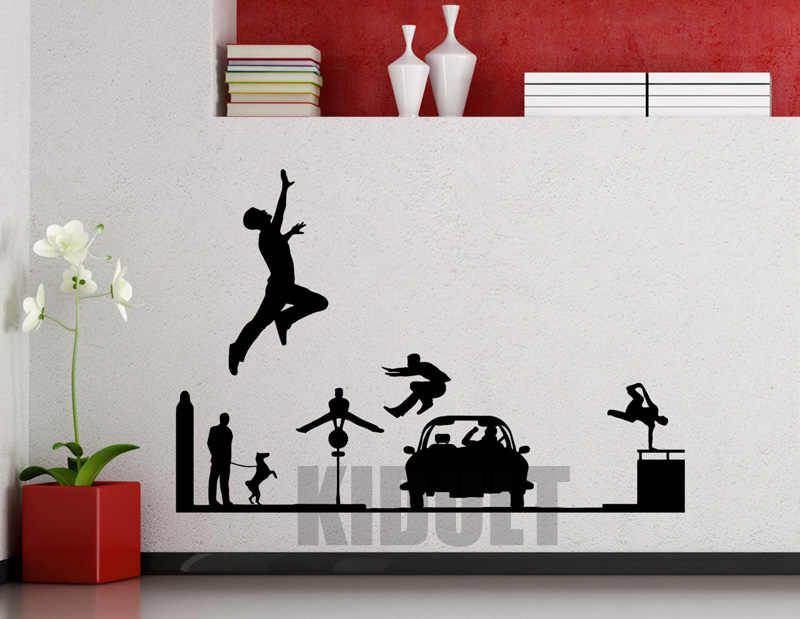 Orang orang kreatif Dinding Stiker Wallpaper Olahraga Parkour Keren Menjalankan Rumah Keluarga kamar Art Deco Stiker.jpg q50