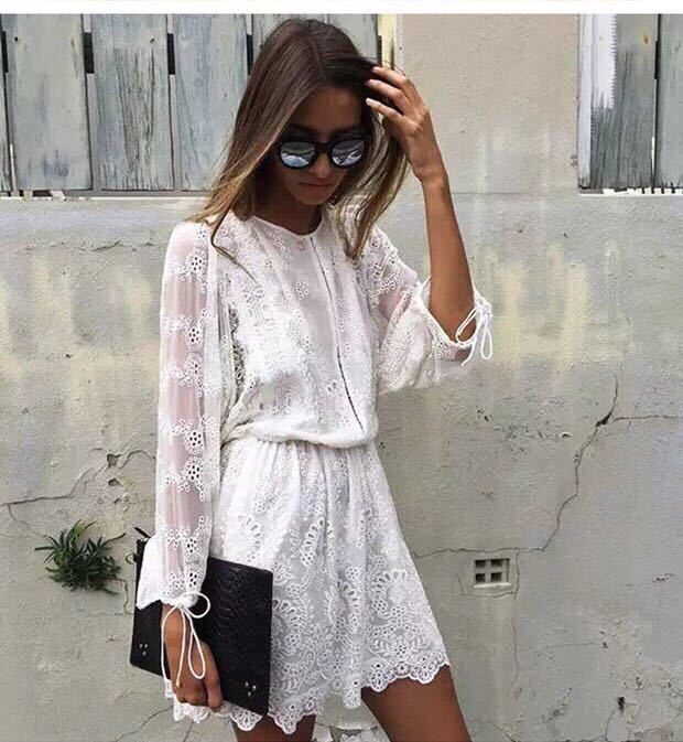 Buy Cheap 100% lace pants dress 2017 summer beach dress bohemian tropical dress lantern sleeve