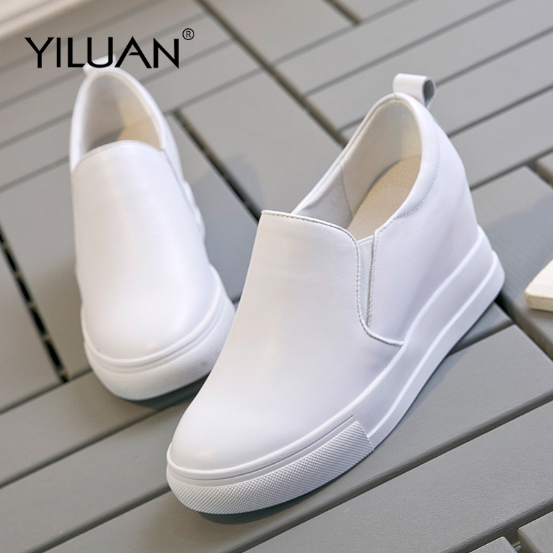 Yiluan 2019 spring autumn new Genuine Leather women casual Pumps shoes increased white platform shoes wedges
