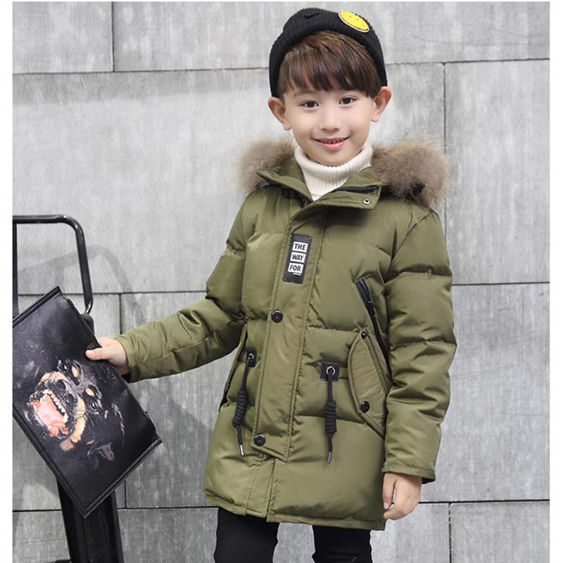 Winter Jacket for Boys 2017 New Brand Teenage Boys Fur Collar Hooded Down Coat Fashion Children Thicken Warm Outerwear Clothing игрушки животные schleich s schleich