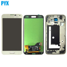 For Samsung Galaxy S5 G900 G900F LCD Display + Touch Screen Digitizer Assembly With Frame Black White Free Shipping