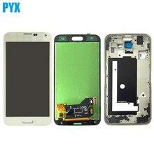 لسامسونج غالاكسي S5 G900 G900F شاشة الكريستال السائل مجموعة المحولات الرقمية لشاشة تعمل بلمس مع الإطار أسود أبيض شحن مجاني