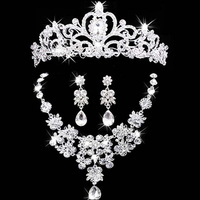 Bridal Jewelry Sets Tiara Necklace And Earring Set Crown Tiara Rhinestone Wedding Accessories Bridal Crystal Jewelry