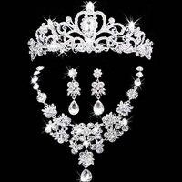 Gioielli da sposa corona collana e orecchino set strass tiara nuziale accessori da sposa set di gioielli di cristallo