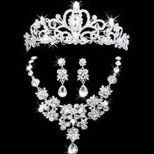 Joyería nupcial corona collar y pendiente Tiara Rhinestone Accesorios de La Boda Nupcial joyas de cristal