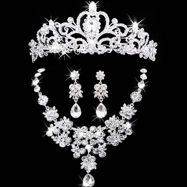 Bridal Jewelry Crown Necklace And Earring Set Tiara Rhinestone Wedding Accessories Crystal Sets