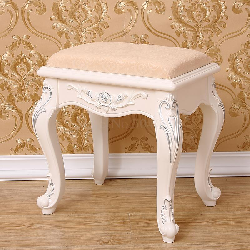 Makeup Stool Chair Shoe-Bench Dressing Nail-Stool-Garden Bedroom Modern-Fabric Solid-Wood
