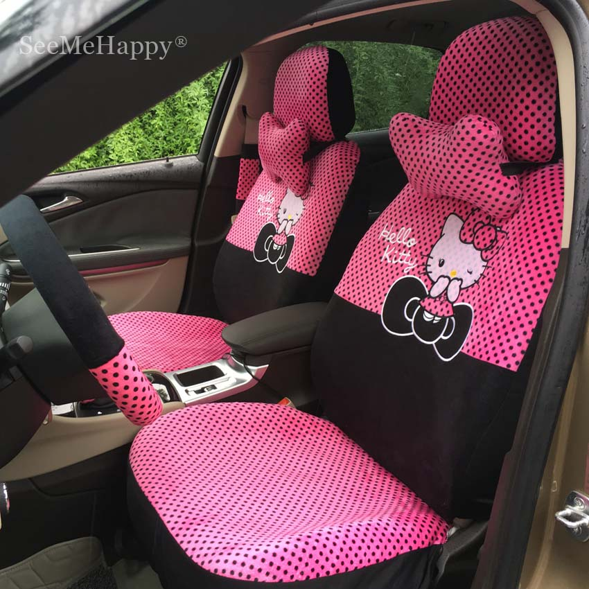 Buy universal car seat covers cartoon - Hello kitty car interior accessories ...