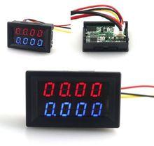Cyfrowy woltomierz DC amperomierz 4 bitowy 5 przewodów DC 200V 10A miernik napięcia prądu zasilanie czerwony niebieski LED podwójny wyświetlacz