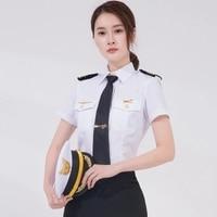 Pilot Captain uniform Plus Size Cosplay Stage Performce Navy Long Sleeve shirts women Short Sleeve Slim Woman Ship Sailor Shirt