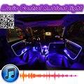 Ritmo de Luz ambiente Para Citroen C2 2003 ~ 2010 Tuning Interior Música/Luz y sonido/DIY Coche Atmósfera Refit De Fibra Óptica banda