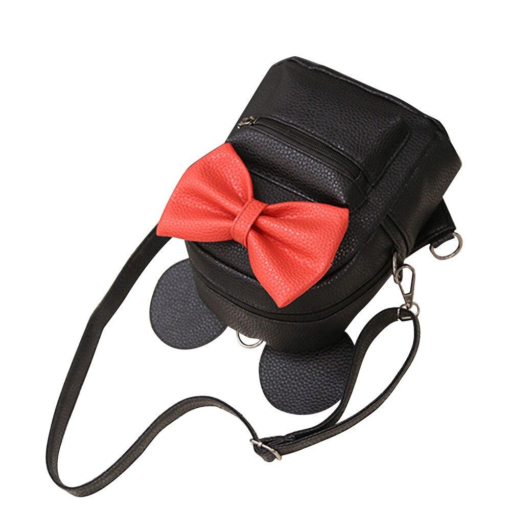 HTB1TL0kCv9TBuNjy0Fcq6zeiFXa4 2018 New Mickey Backpack Pu Leather Female Mini Bag Women's Backpack Sweet Bow Teen Girls Backpacks School Lady Bag Shoulder bag