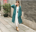2016 Women's thin Clothing Summer irregular cardigan Trench coat for female Solid colors cotton linen thin coat 86160