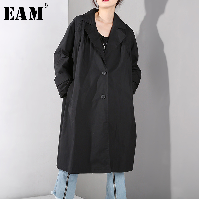 [EAM] 2019 New Spring Summer Lapel Long Sleeve Black Back Pleated Stitch Loose Big Size Windbreaker Women   Trench   Fashion JI007