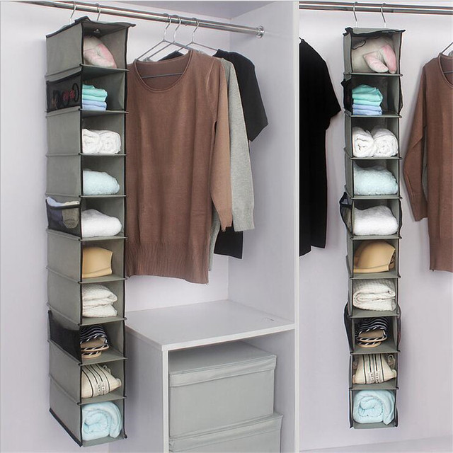 Superieur 10 Layers Hanging Clothes Closet Organizer Foldable Shoes Underwear Sock  Storage Holder Door Wall Closet Organizer