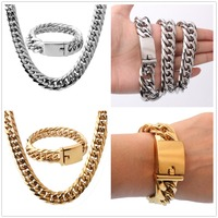 16mm Cool Huge 316L Stainless Steel Silver Gold Tone Cuban Curb Chain Mens Boys Necklace 24&Bracelet Bangle 8.66 Jewelry Sets
