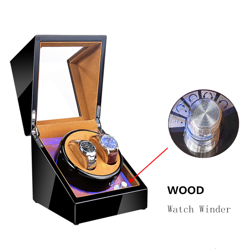 New Wood Watch Winders Black Automatic Self Watch Winder For Mechanical Watches Fashion Watch Storage Organizer Holder