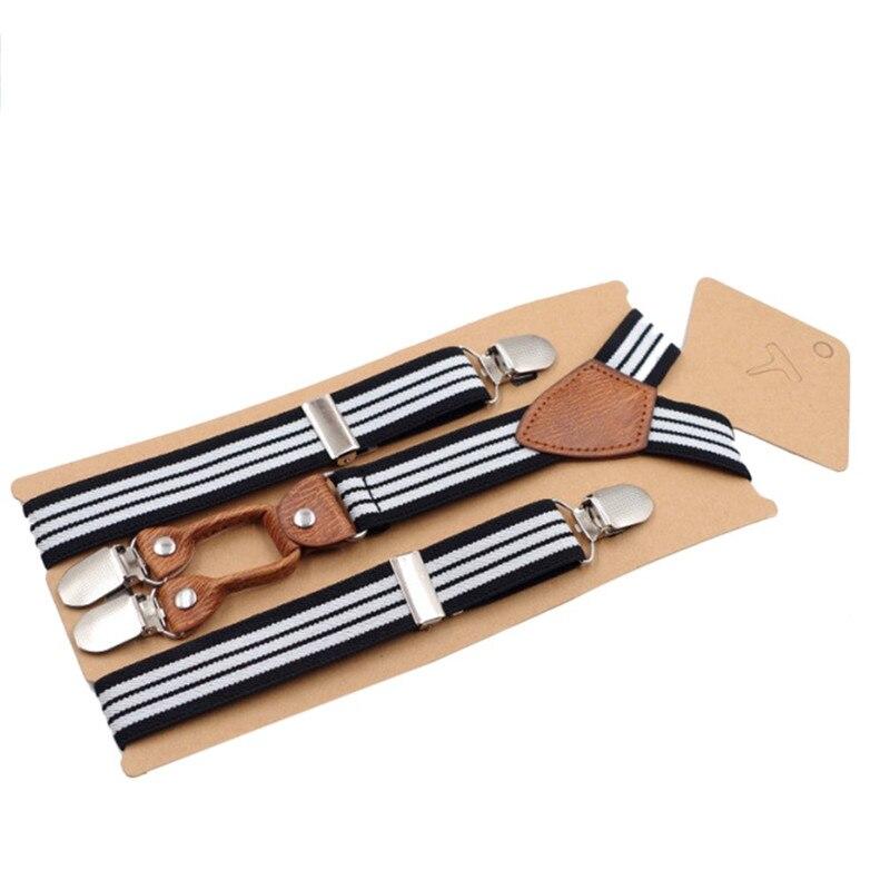 Durable Children Suspenders Stripe Design Adjustable Elastic Polyester Belt Y-shape Back Hairpins For Kids Suspender For Wedding
