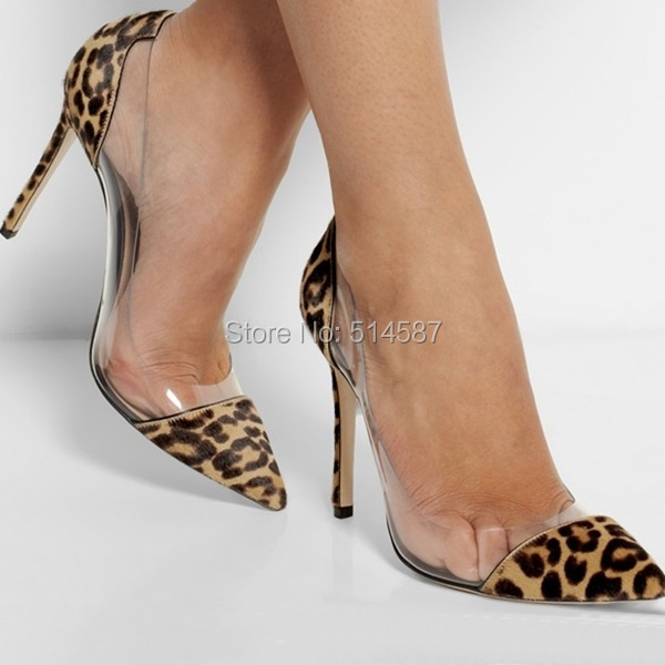 6ae14bf23563 Designer women leopard print calf hair PVC pump pointed toe high heels  transparent stiletto thin heel dress shoes plus size10