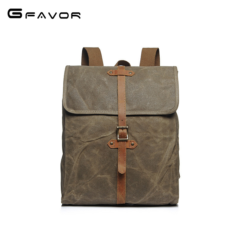 Vintage Oil Wax Canvas Backpack Men Designer Brand Casual Waterproof Travel Shoulder Bag 2018 New High Quality Laptop Backpack