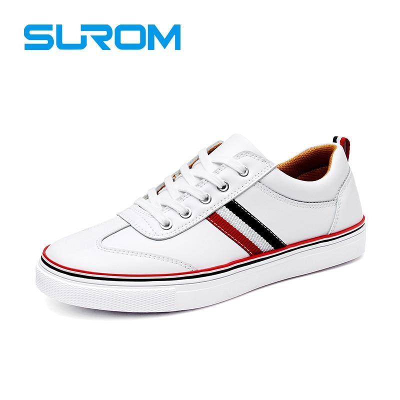 SUROM Alta Calidad de Cuero Zapatos Blancos Ocasionales Mens Krasovki Brogue Zap