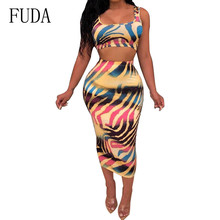 FUDA Two Pieces Sets Stripe Gradient Color Print Dress Sexy Sleeveless Hollow Out Bodycon Slim Women Summer Casual Wear
