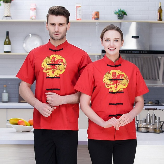 d7554d109 Chinese Red Restaurant Chef Jacket Cafe Kitchen Cooking Clothes Hotel Chef  Uniform Food Service Overalls Catering Waiter Uniform