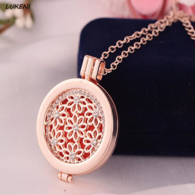 1 Pcs Set New Rose Gold Antique Vintage Lockets Essential Oil Diffuser Perfume Aromatherapy