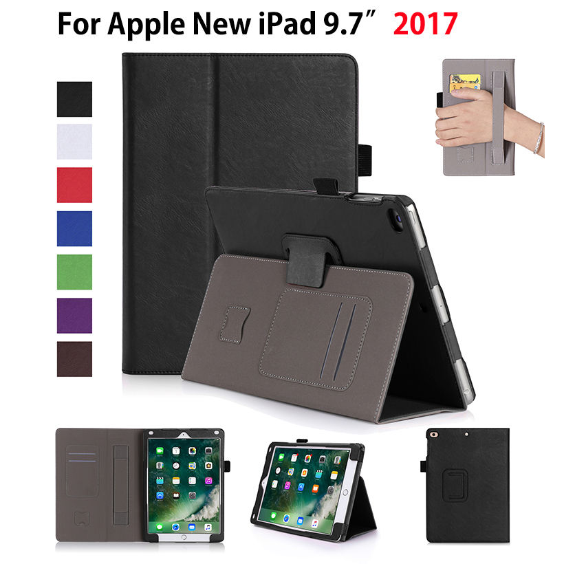 High Qualtiy PU Leather Case For Apple New iPad 9.7 2017 A1822 Cases Cover Tablet Hand Holder Protective Flip Stand Shell Funda new luxury tablet case cover for apple ipad air 2 pu leather flip case wallet card stand cover for ipad 6 ipad air2 with holder