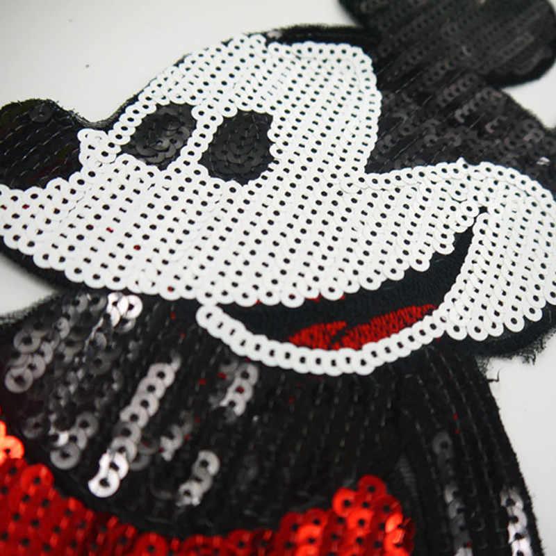 Одежда для всей семьи одежда для детей и их родителей блестки патч железа на патчи для одежды с изображением Микки Мауса куртка DIY рубашка поло Кепки джинсы Бесплатная доставка