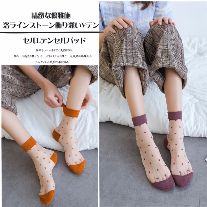 SP&CITY Classical Dot Patterned Transparent Woman Short Socks Fashion Glass Funny Socks Ankle Colored Hipster Casual Socks