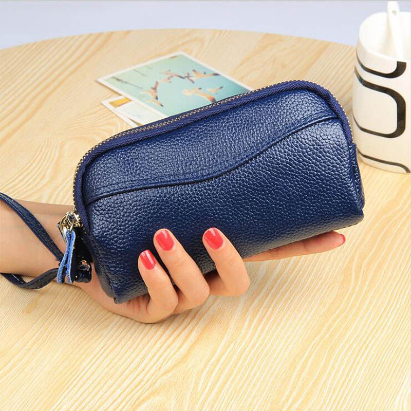Leather Europe And The United States Fashion Cell Phone Bag Double Zipper Ladies  Purse