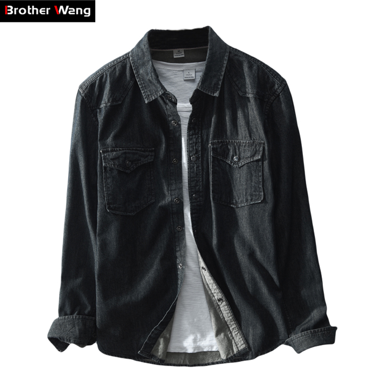 Brother Wang Brand 2019 Spring New Men's Casual Black Denim Shirt 100 Cotton Fashion Slim Long Sleeve Shirts Male Clothes