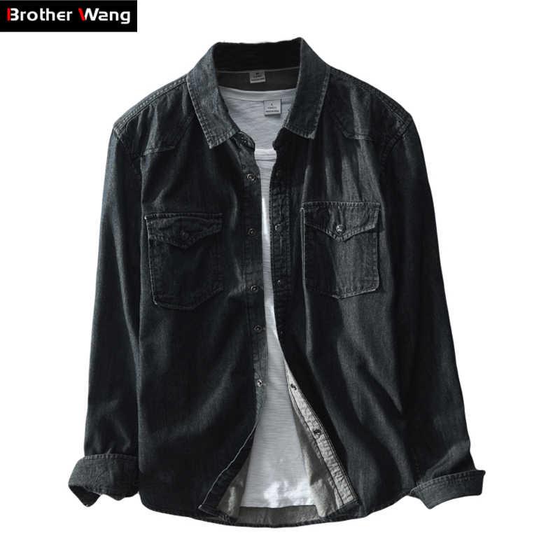Brother Wang marca 2019 primavera nueva camisa de mezclilla negra Casual para hombre 100 algodón moda camisas de manga larga delgadas ropa masculina