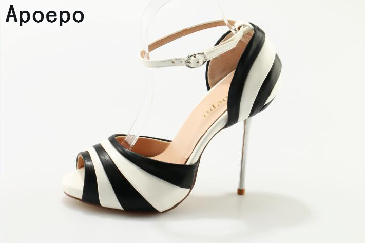 Women Summer high heel peeo-toe black and white mixed colors ladies leisure and party shoes sweet high quality sxey pumps heels rakesh kumar tiwari and rajendra prasad ojha conformation and stability of mixed dna triplex