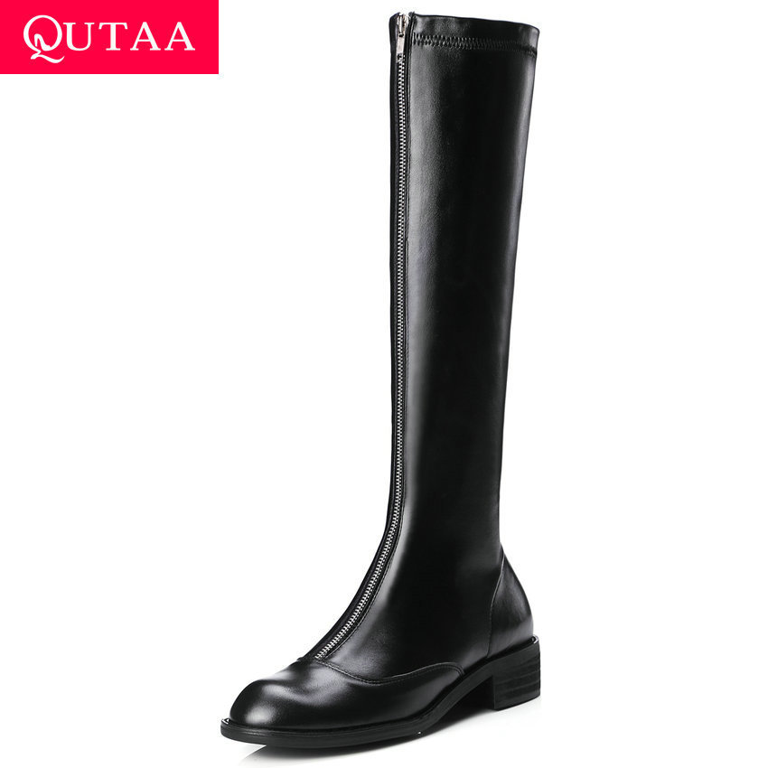 QUTAA 2020 Women Middle Heel Over The Knee Boots and Knee High Boots Genuine Leather Front Zipper Autumn Women Shoes Size 34-39QUTAA 2020 Women Middle Heel Over The Knee Boots and Knee High Boots Genuine Leather Front Zipper Autumn Women Shoes Size 34-39
