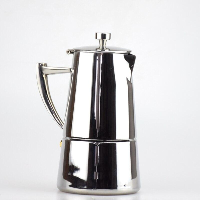 High Quality Italian Stove 304 Stainless Steel Coffee Moka Pot Espresso Coffee Maker 4 Cups