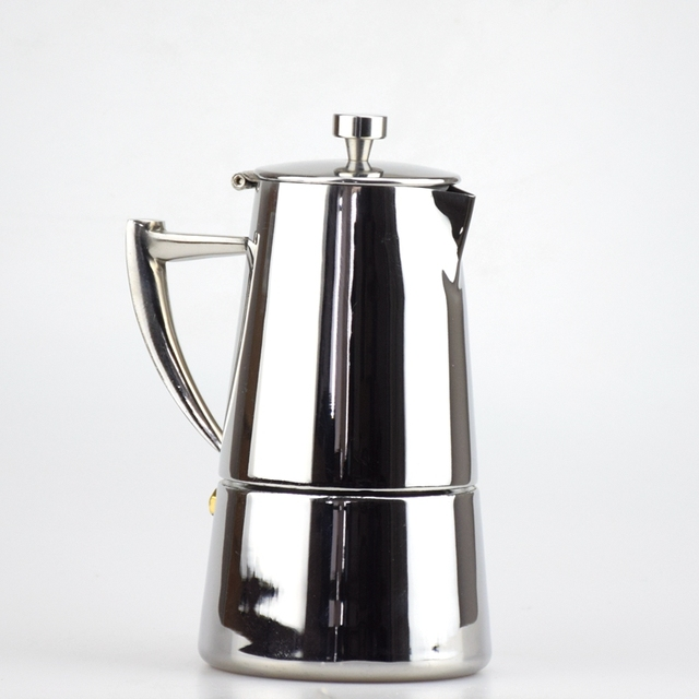 High quality Italian Stove 304 Stainless Steel Coffee Moka Pot Espresso Coffee Maker 4 Cups