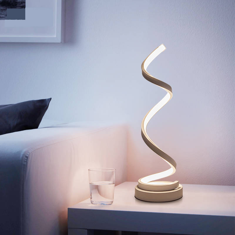 Creative Art Decoration 24W LED Table Lamp Acrylic Spiral Table Light  Bedroom Bedside Lamp Home Decor Lighting Fixture 110V 220V In LED Table  Lamps From ...