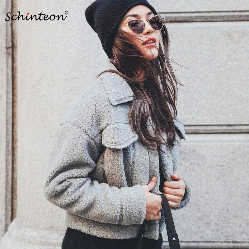 2018 Faux Pelz Jacke Gefälschte Geschert Schaffell Lamm Wolle Pelzmantel Outwear Lose Kurze Jacken Lila Grau Rosa Eine VollstäNdige Palette Von Spezifikationen