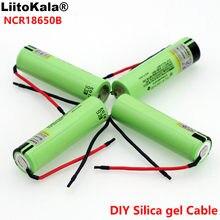 Liitokala original novo ncr18650b 3.7 v 3400mah 18650 li-ion bateria recarregável de solda sílica gel cabo diy