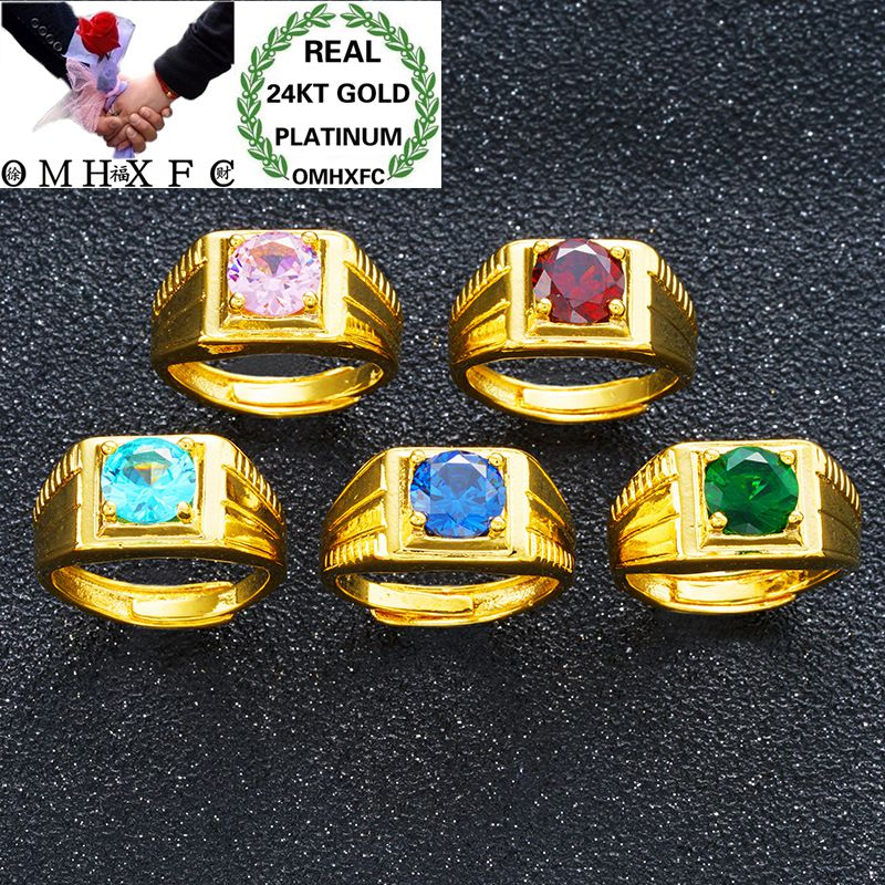 OMHXFC Wholesale European Fashion Man Male Party Birthday Wedding Gift Square Round Zircon Resizable 24KT Real Gold Ring RI124