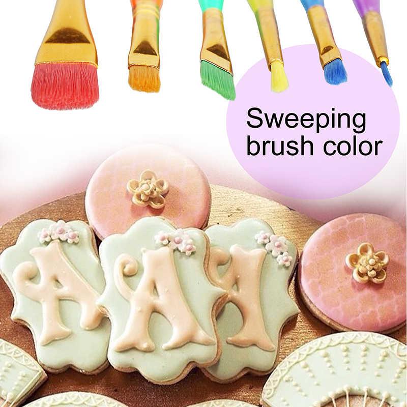 משלוח מוצר 1 סט מברשת עוגת צבעוני פלסטיק יצק עוגת מברשת לקשט ציור סט לאבק DIY מאפה כלי