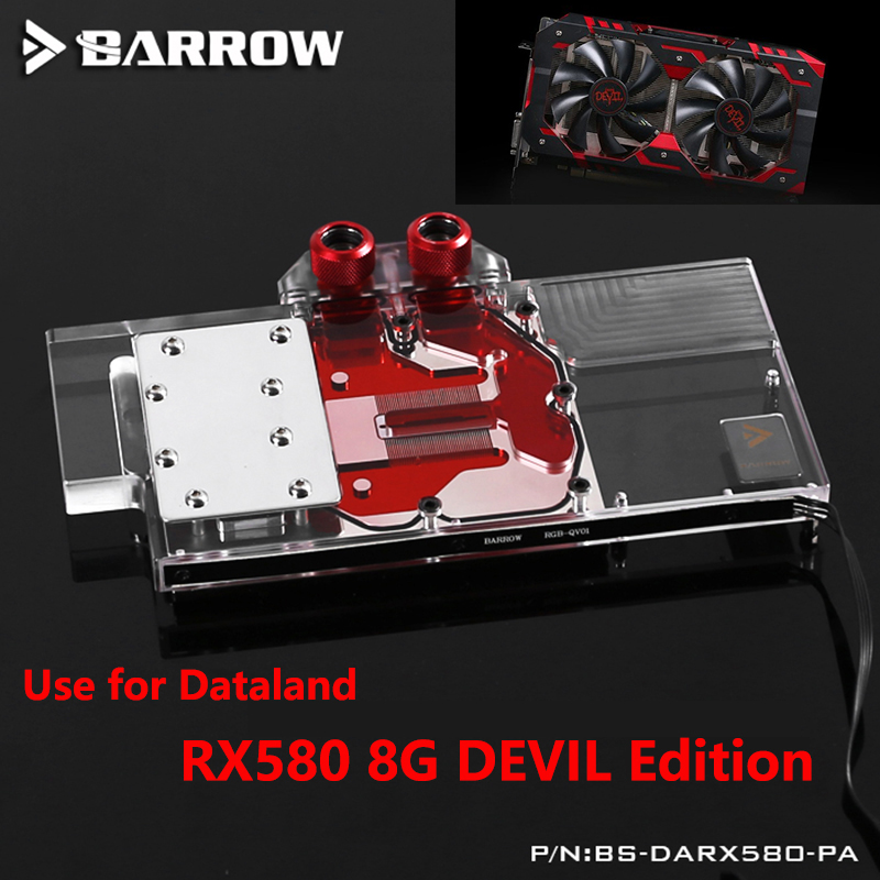 BARROW Full Cover Graphics Card Block use for PowerColor Radeon RX 580 Red Devil 8GB GPU Copper Radiator Block with RGB to AURA bykski water block use for sapphire nitro radeon rx vega 64 8gb hbm2 11275 03 40g full cover gpu copper block radiator rgb
