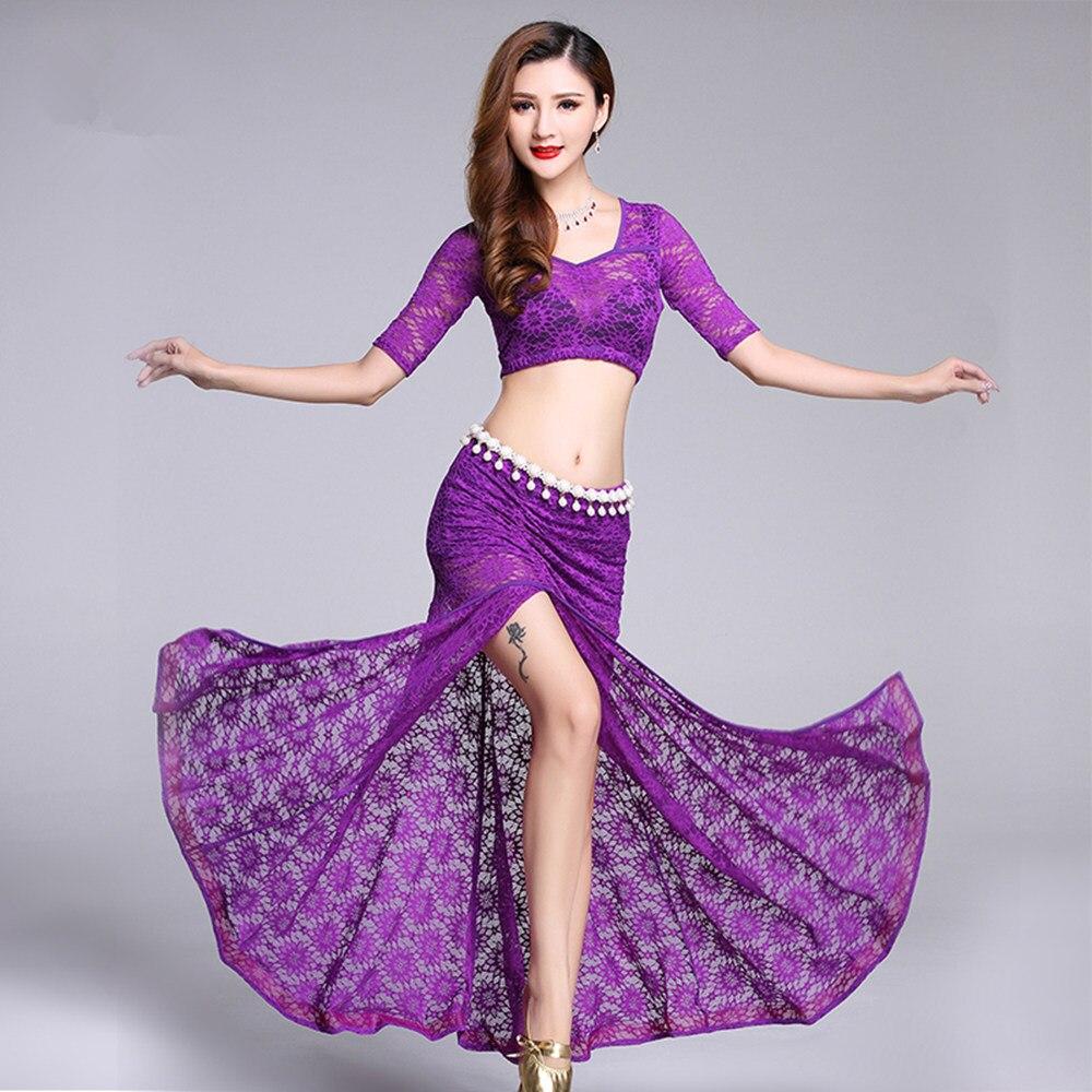 Bellydance Top ceinture longue jupe ventre danse Costume ensemble danse du ventre pour les femmes adultes danse vêtements professionnel pratique robe