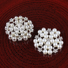20Pcs/lot 32MM Gold/Silver Metal Rhinestone Button with Pearl for Hair Centre Wedding Embellishment DIY Scrapbooking Decoration