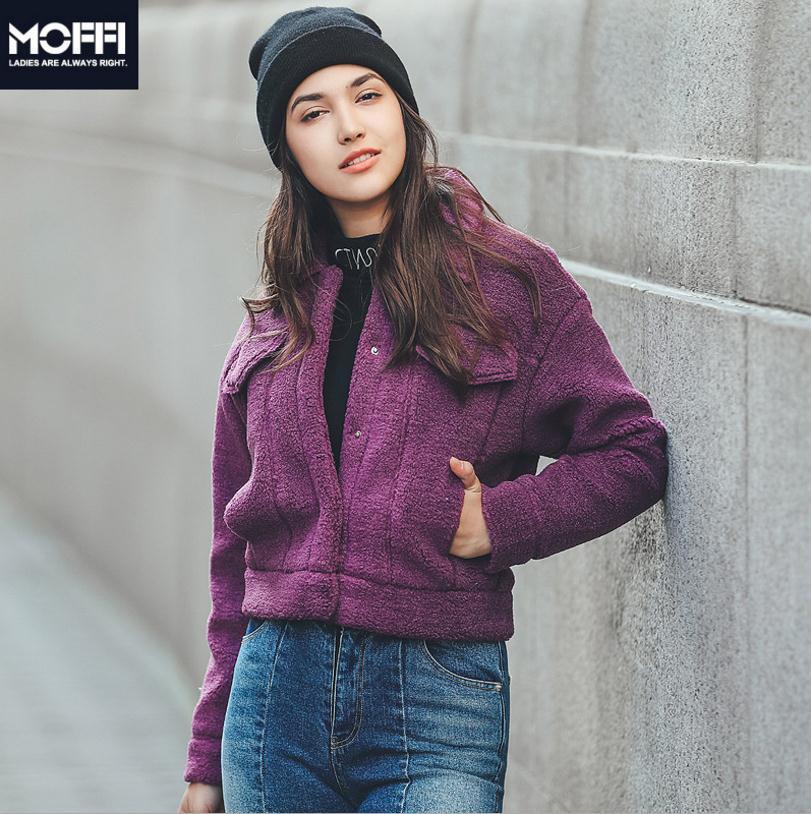 Épais Arrivée Mode Nouvelle purple Agneau Cheveux Dropship Wq169 Grey Chaud Court D'hiver Femelle Marque Poitrine Imitation 2018 De Manteau Unique R6g5wIxRqn