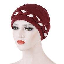 New Elastic Beaded Turban Hat Women's Hijabs Muslim Caps Women Hair Accessories Simple Design Bandanas Girl Headwear Skullies цена в Москве и Питере