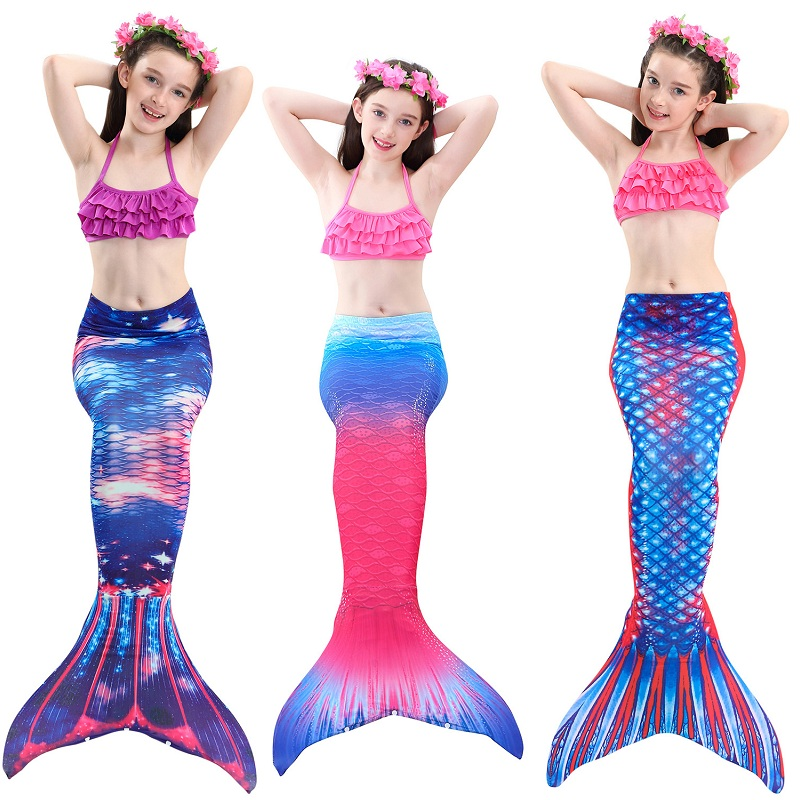 New Style Children Mermaid Tails with Monofin Girls cosplay Costumes Swimming Mermaid Tail Mermaid Swimsuit Flipper for girls